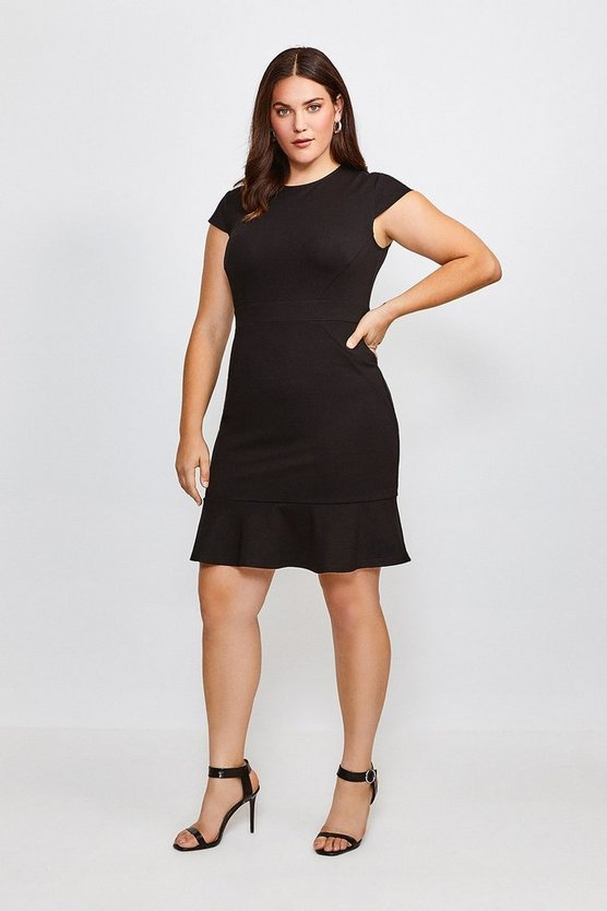 Black Curve Round Neck Ponte Ruffle Hem Dress