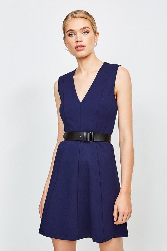 Navy V Neck Ponte Belt Short Sleeve Dress
