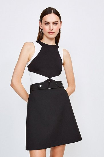 Black Sleeveless Colour Block Top