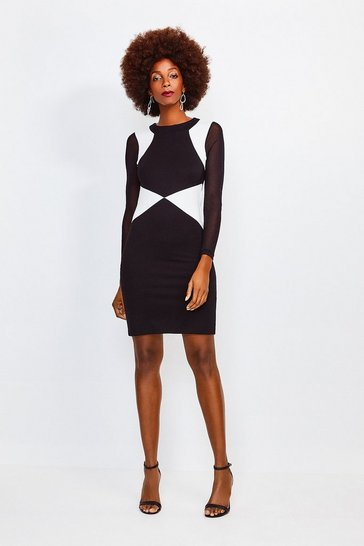 Black Colour Block Long Sleeve Viscose Jersey Dress