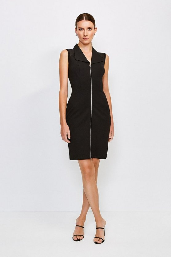 Black Mesh Shoulder Zip Through Ponte Dress