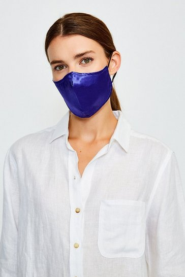 Navy Reuseable Fashion Print Face Mask With Filter