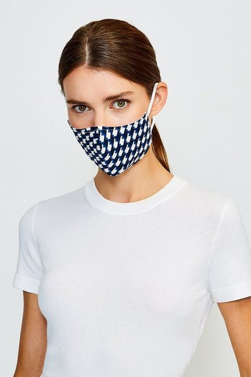 Black Reuseable Print Fashion Face Mask With Filter