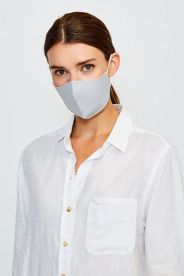 Grey Fashion Print Face Mask With Filter