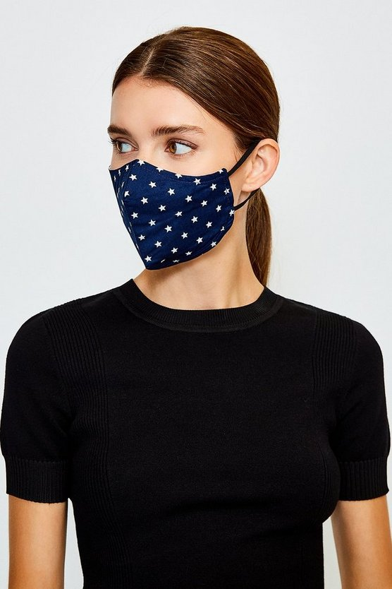 Navy Reuseable Star Fashion Face Mask With Filter