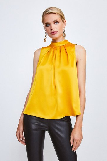 Mustard Tie Neck Satin Blouse