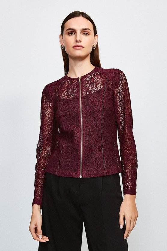 Burgundy Lace Zip Up Long Sleeved Jacket