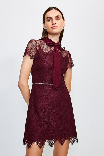 Burgundy Lace Tie Neck Mini Dress