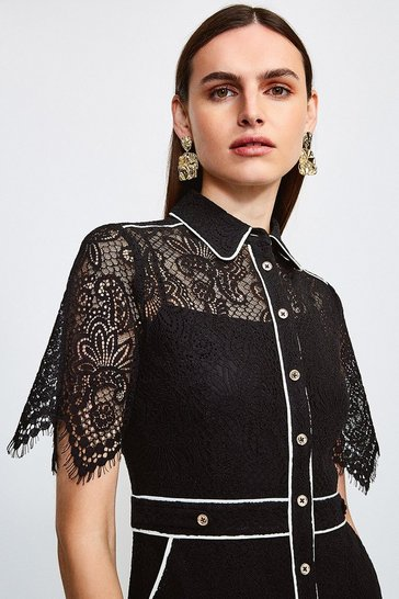 Black Lace Short Sleeved Mini Dress