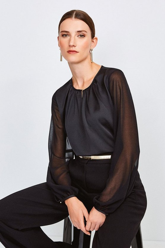 Black Sheer and Opaque Blouse
