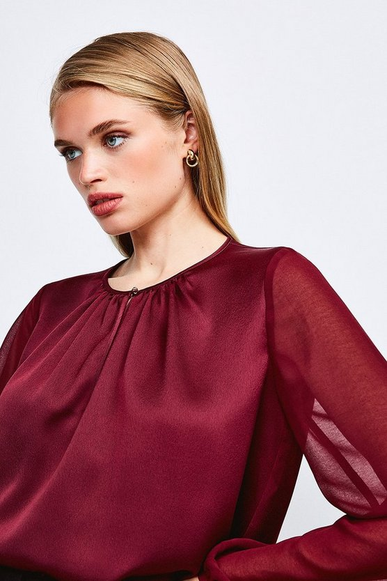Burgundy Sheer and Opaque Blouse