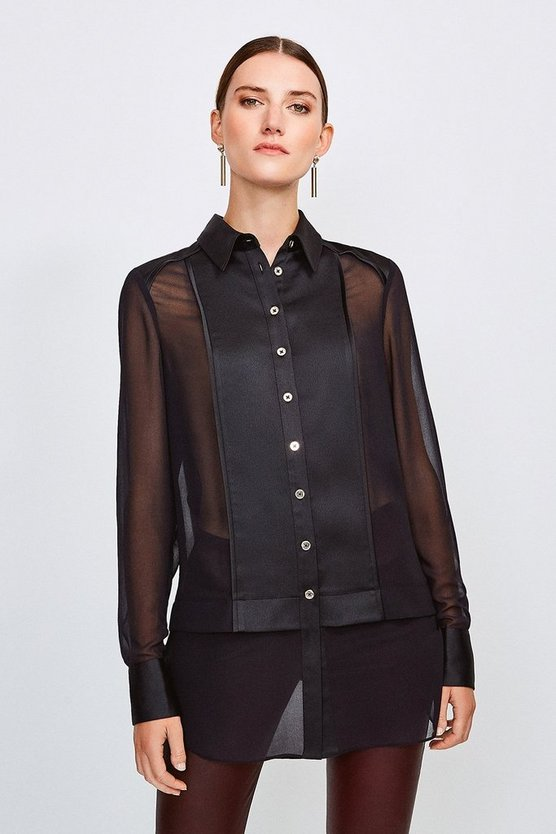 Black Sheer and Opaque Shirt
