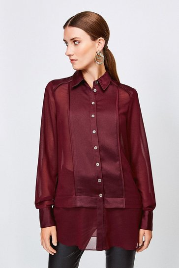 Burgundy Sheer and Opaque Shirt