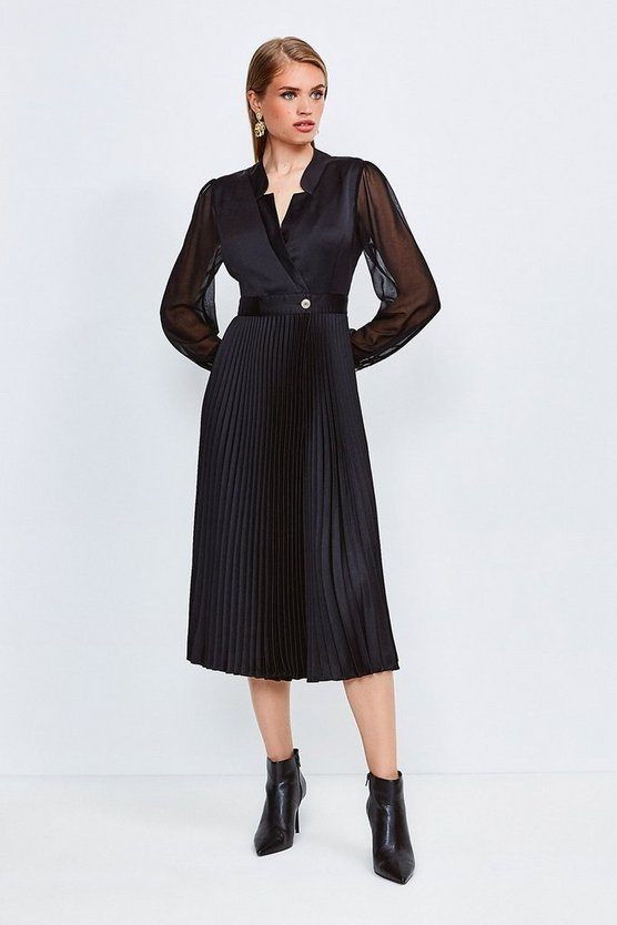 Black Sheer and Opaque Pleated Wrap Dress