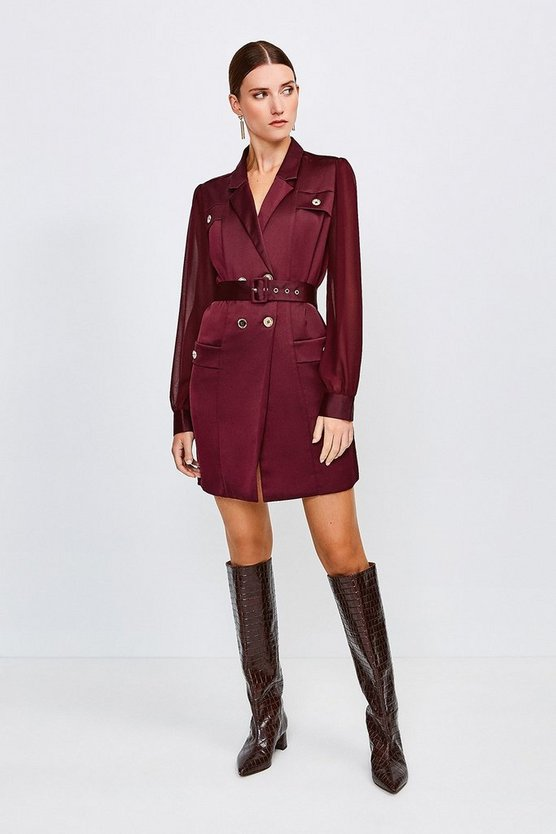 Burgundy Sheer and Opaque Belted Shirt Dress