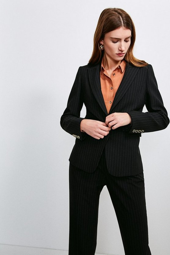Black Pinstripe Fitted Jacket