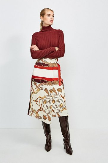 Brown Italian Scarf Print Wrap Skirt