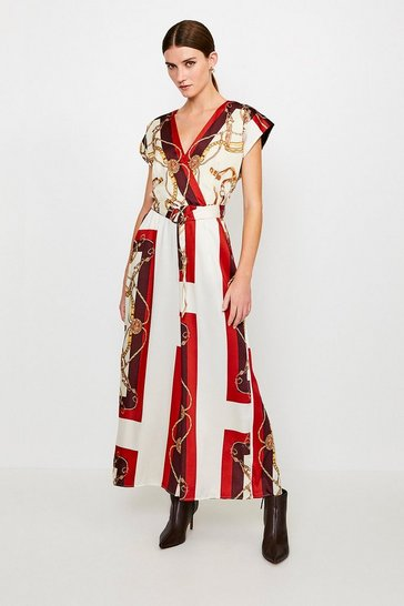 Brown Italian Scarf Print Jumpsuit