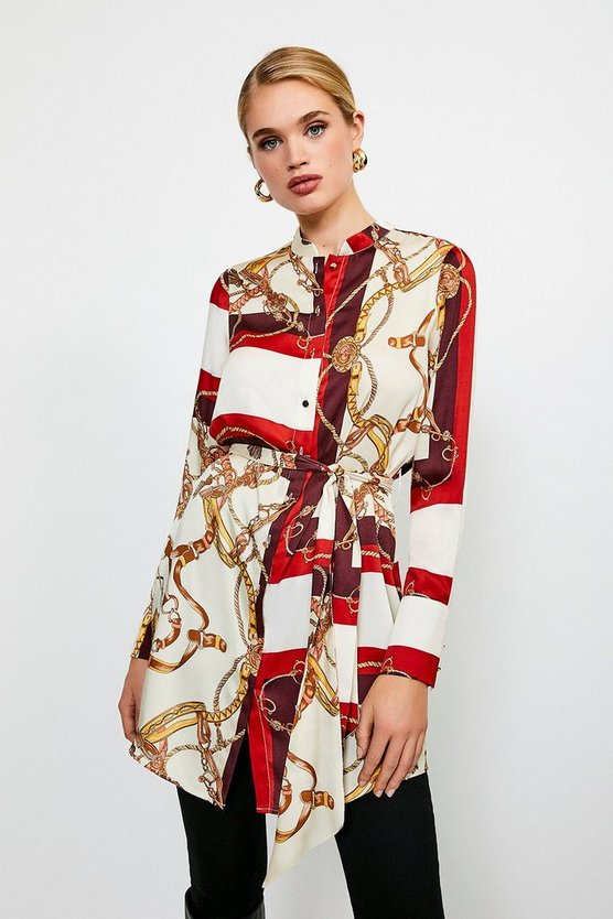 Brown Italian Scarf Print Belted Tunic
