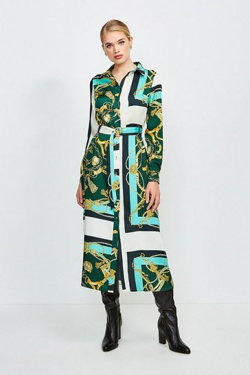 Green Italian Scarf Print Shirt Dress