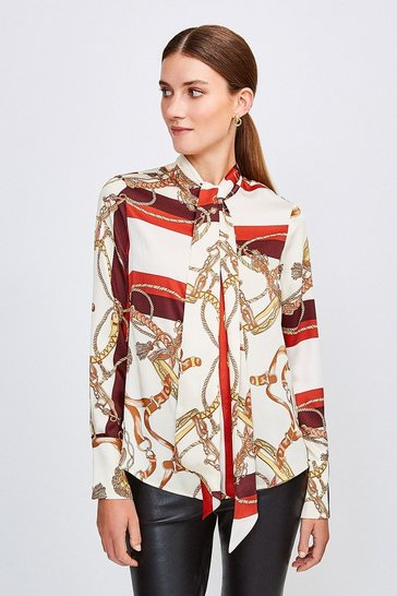 Brown Scarf Print Tie Neck Blouse