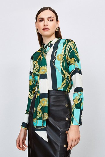 Green Scarf Print Tie Neck Blouse