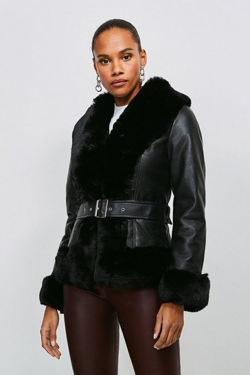 Black Faux Fur Trim Faux Leather Jacket
