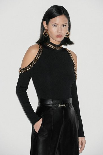 Black Label Chain Deatil Cold Shoulder Jumper