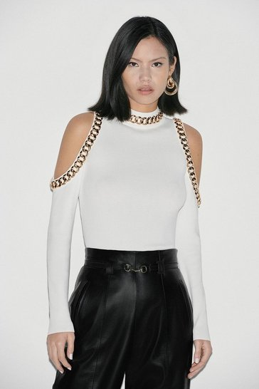 Ivory Black Label Chain Deatil Cold Shoulder Jumper