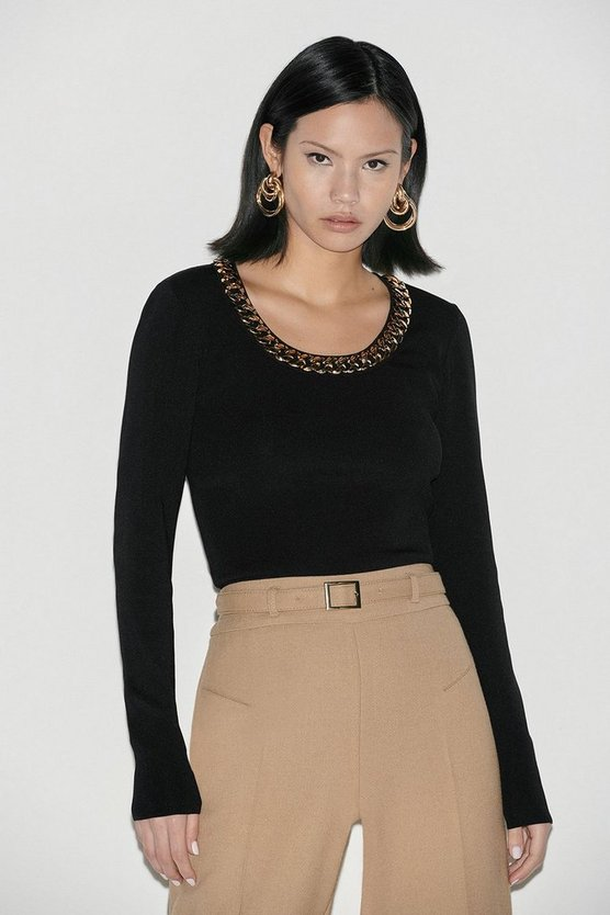 Black Label Chain Detail Scoop Neck Jumper