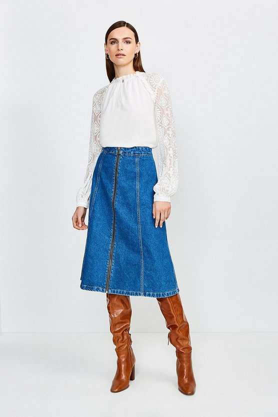 Mid wash Zip Front Denim Midi Skirt
