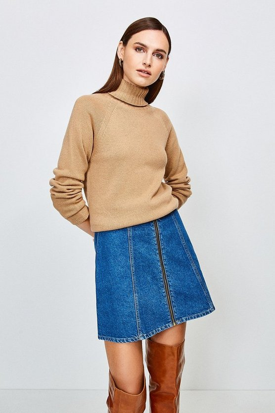 Mid wash Zip Front Denim Mini Skirt