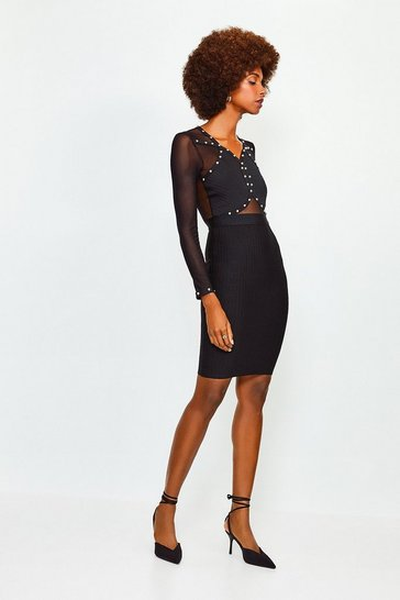 Black Studded Sheer Sleeve Bandage Knit Dress
