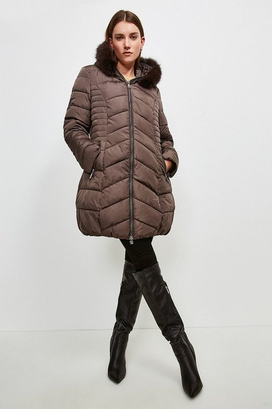 Brown Faux Fur Hooded Padded Coat