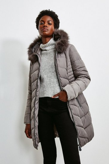 Grey Faux Fur Hooded Padded Coat
