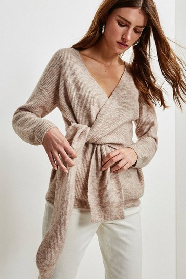 Oatmeal Super Soft And Cosy Wrap Tie Jumper