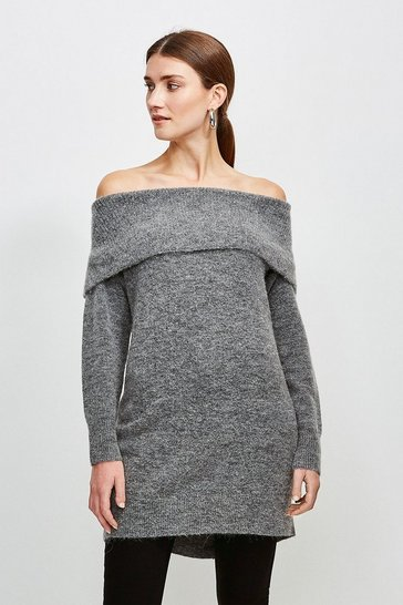 Grey marl Super Soft and Cosy Longline Bardot Jumper