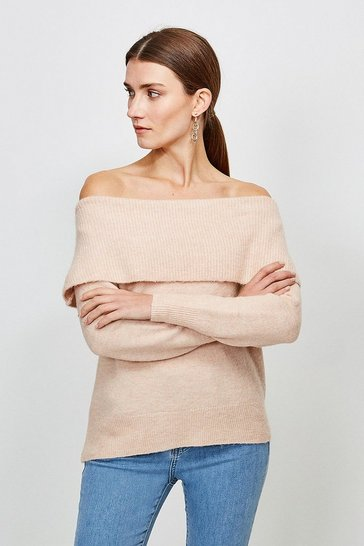 Blush Super Soft And Cosy Bardot Jumper
