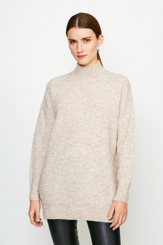 Oatmeal Super Soft And Cosy Longline Roll Neck Jumper