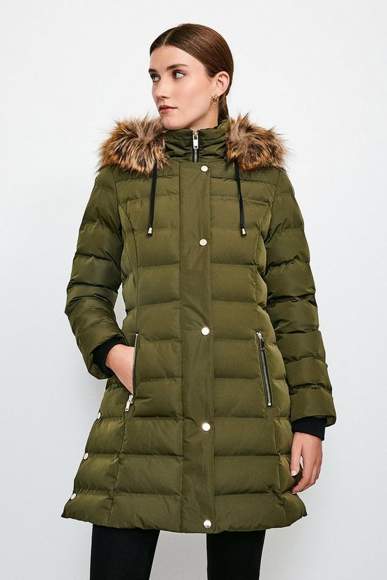 Khaki Belted Padded Faux Fur Hooded Coat