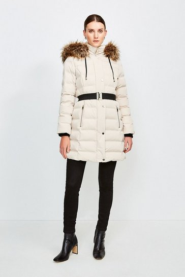 Natural Belted Padded Faux Fur Hooded Coat