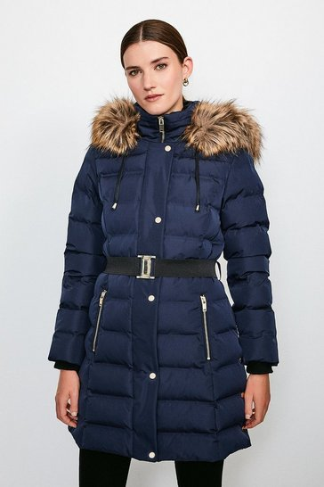 Navy Belted Padded Faux Fur Hooded Coat