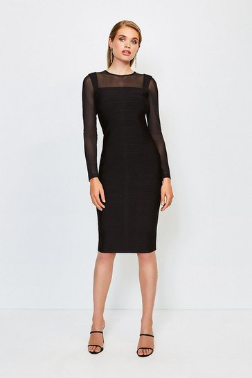 Black Mesh Sleeve Bandage Knit Dress