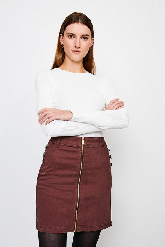 Chocolate Stretch Twill Front Zip Button Skirt