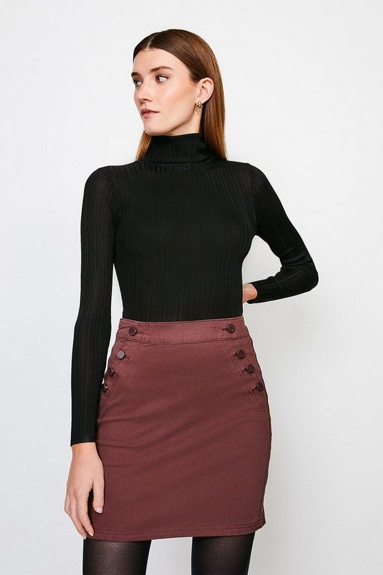 Chocolate Stretch Twill Button Detail Skirt