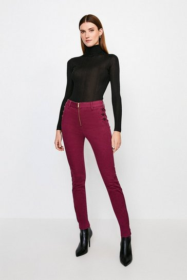 Wine Stretch Twill Zip Front Button Detail Jean