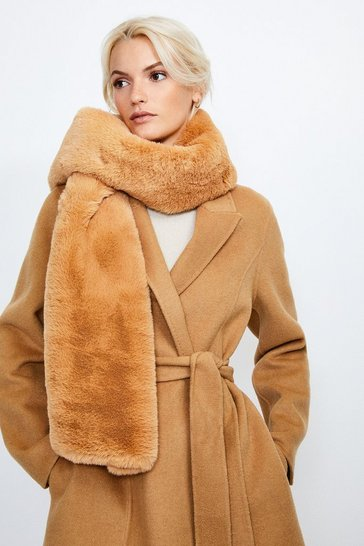 Camel Faux Fur Long Scarf