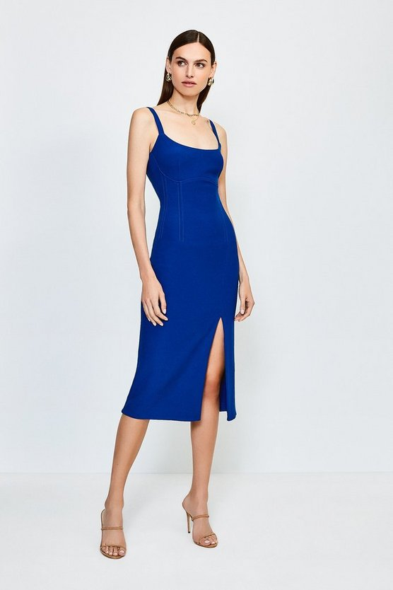 Cobalt Bodycon Scoop Neck Midi Dress