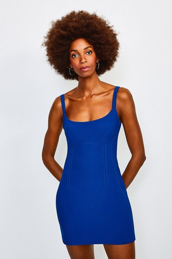 Cobalt Scoop Neck Mini Dress