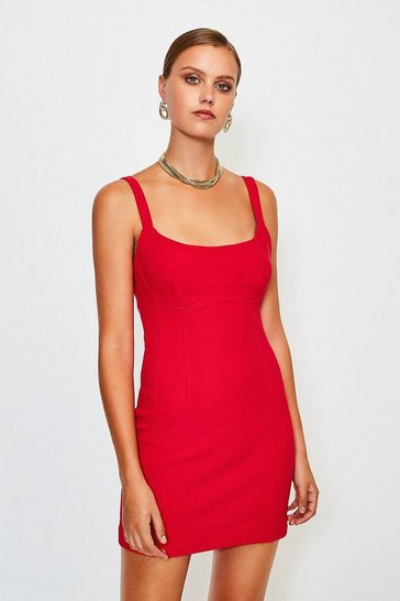 Red Scoop Neck Mini Dress